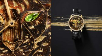 Ronde Louis Cartier Watch with wood and gold leaf marquetry