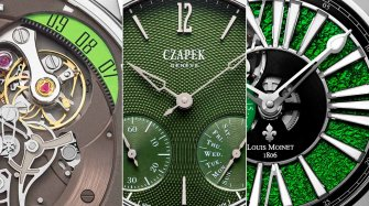 Three watches with a hint of green