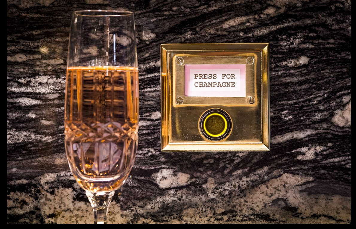 Champagne dials - But the champagne's not in the glass – it's under it!