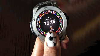 The Hublot / FIFA smartwatch, tested on the ground in Moscow