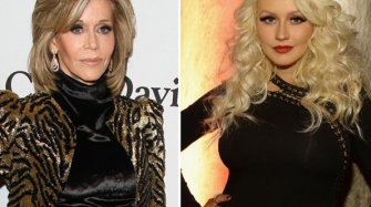 Christina Aguilera and Jane Fonda in Mouawad Arts and culture
