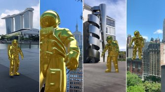 Golden Astronaut in Augmented Reality