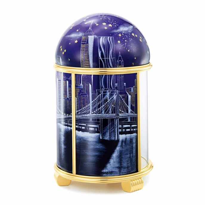 Dome Table Clock - Brooklyn Bridge by Night
