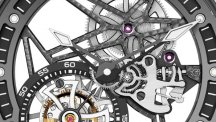 Excalibur Spider Skeleton Flying Tourbillon, with gem-set rubber bezel