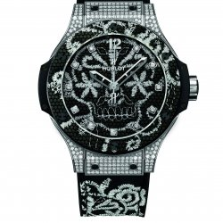 Big Bang Embroidery, steel and diamonds  © Hublot