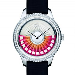 Dior VIII Grand Bal Plissé Ruban, 36mm, acier, or, diamants et nacre.