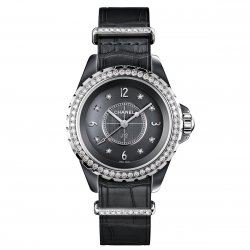 J12-G.10 grey lacquered dial set with 8 brilliant-cut diamond indexes ©Chanel
