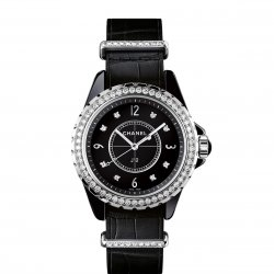 J12-G.10 black lacquered dial set with 8 brilliant-cut diamond indexes ©Chanel