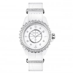 J12-G.10 white lacquered dial set with 8 brilliant-cut diamond indexes ©Chanel