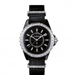 J12-G.10 black dial set with 12 baguette-cut diamond indexes ©Chanel
