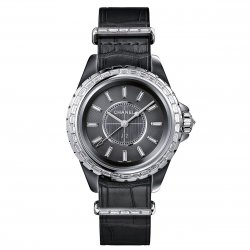 J12-G.10 grey dial set with 12 baguette-cut diamond indexes ©Chanel