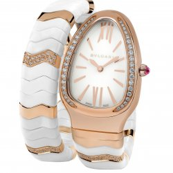 Pink gold, white ceramic with diamonds - Ref. 102202