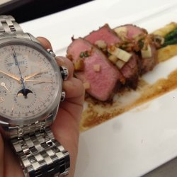 Cut of beef with a Baume & Mercier watch ©Isabelle Guignet