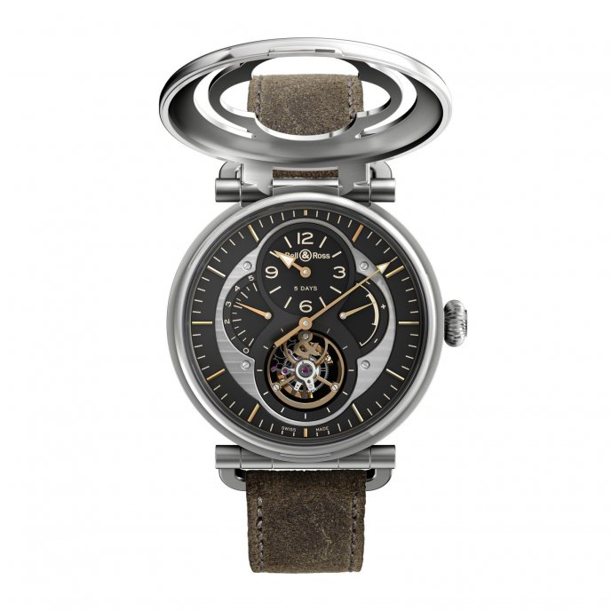Bell & Ross Aviation WW2 Tourbillon Military - face view open
