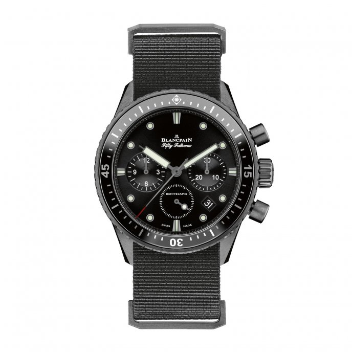 Blancpain Fifty Fathoms Bathyscaphe Chronographe Flyback Watch-face-view