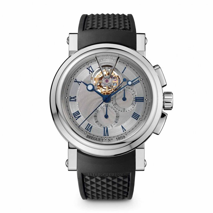 Breguet Marine Chronographe Tourbillon 5837PT/U2/5ZU watch face view