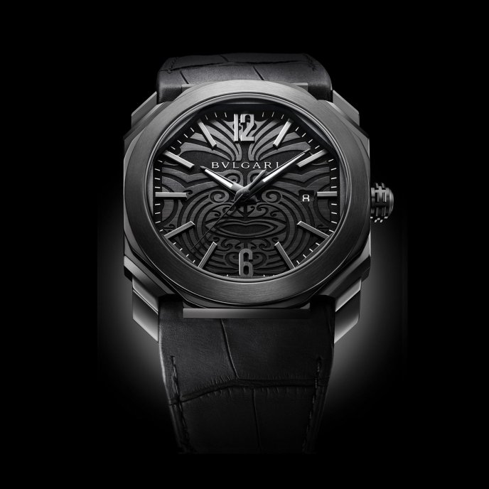 Bulgari Octo All Blacks watch face view