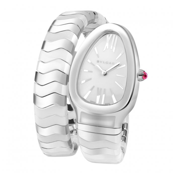 Bulgari Serpenti Spiga Acier Céramique Blanche Watch-face-view
