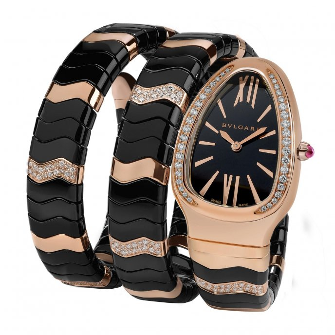 Bulgari Serpenti Spiga Or Rose Céramique Noire watch-face-view