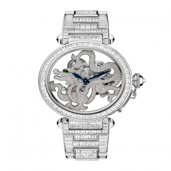 Skeleton Dragon Motif Baguette-Cut Diamonds watch face view