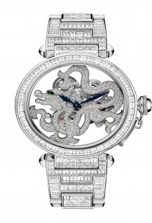 Skeleton Dragon Motif Baguette-Cut Diamonds