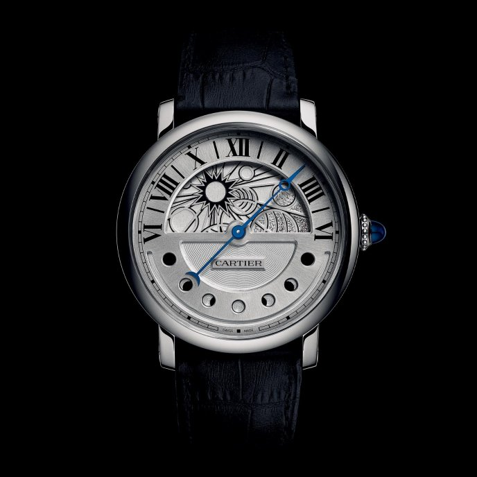 Cartier Montre Rotonde de Cartier Jour et Nuit Palladium - watch day face view