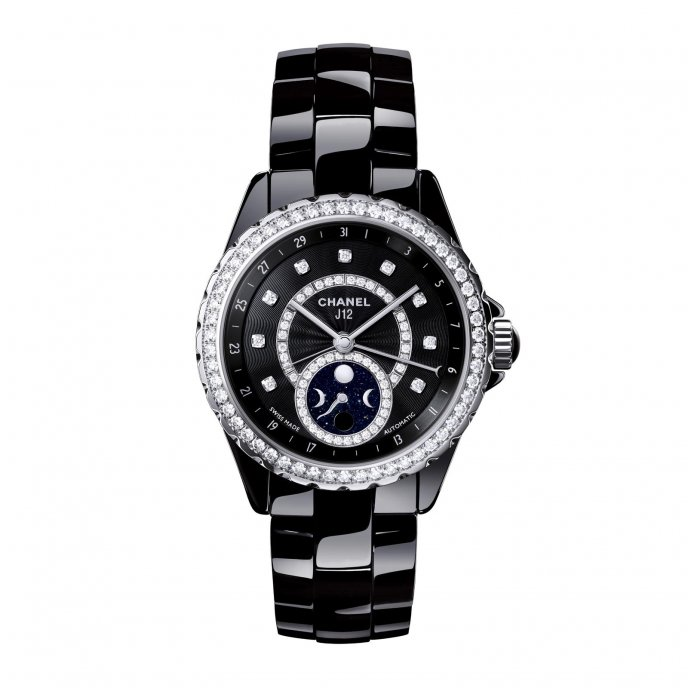 Chanel J12 Moonphase Black High Tech Ceramic Bezel Diamond Set