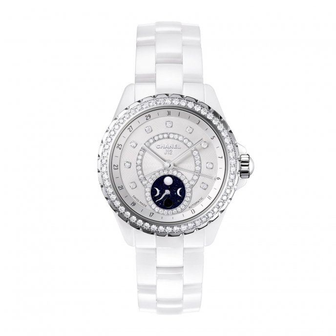 Chanel J12 Moonphase White High Tech Ceramic Bezel Diamond Set