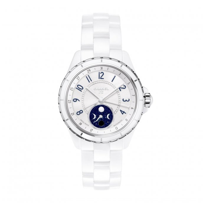 Chanel J12 Moonphase White High Tech Ceramic - face view