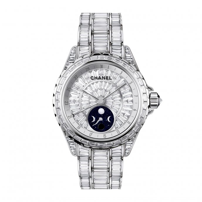 Chanel J12 Moonphase White Gold with 696 Baguette-Cut Diamonds