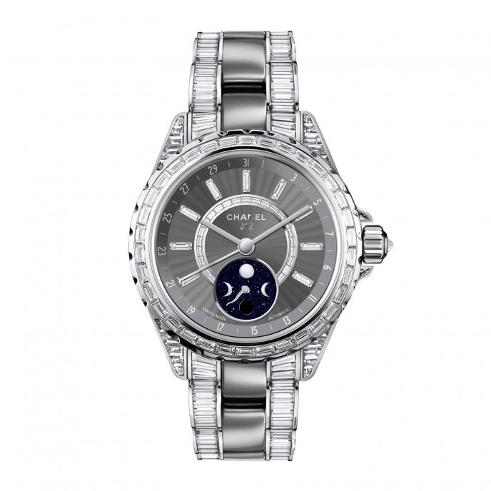 Chanel J12 Moonphase White Gold and Titanium Ceramic with 554 Baguette-Cut Diamonds