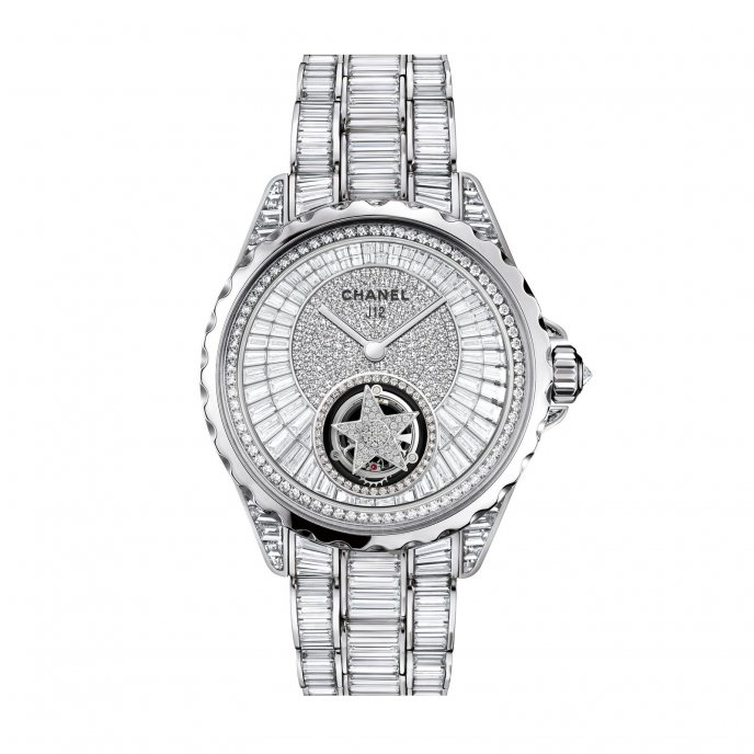 Chanel J12 Tourbillon Volant Or Blanc Diamants Watch-face-view