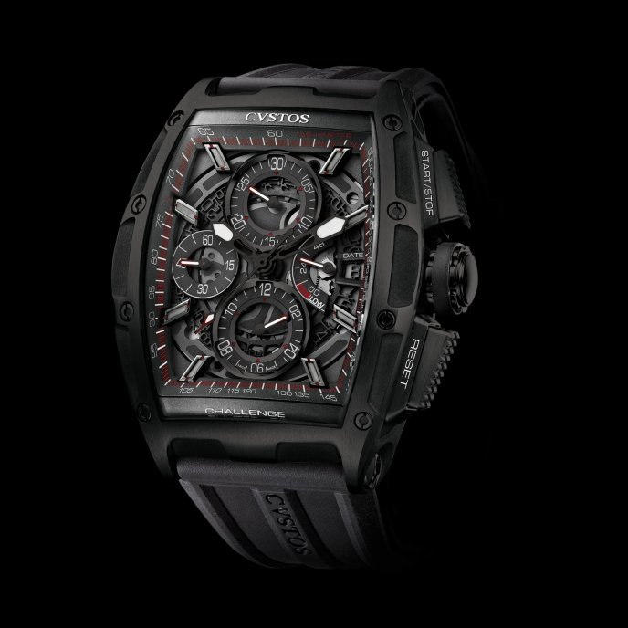 Cvstos Challenge Chrono II Acier Noir Watch-face-view