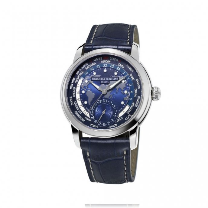 Frédérique Constant Classics Manufacture Worldtimer Navy Blue FC-718NWM4H6 watch face view