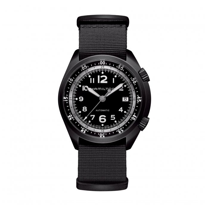 Hamilton Khaki Pilot Pioneer Aluminum Black Watch-face-view