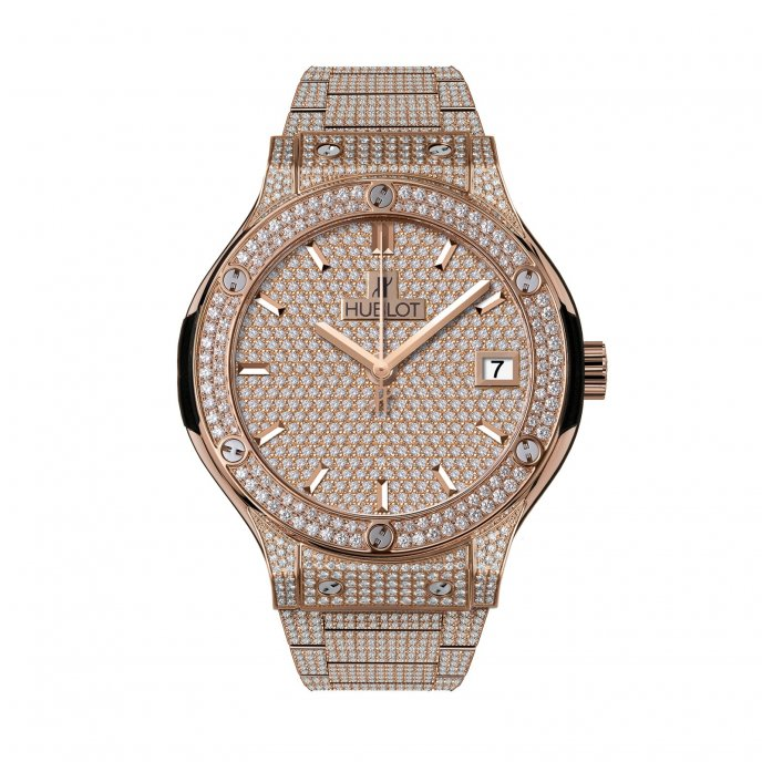 Hublot-Classic Fusion-King Gold Bracelet Full Pavé 38mm-565.OX.9010.OX.3704