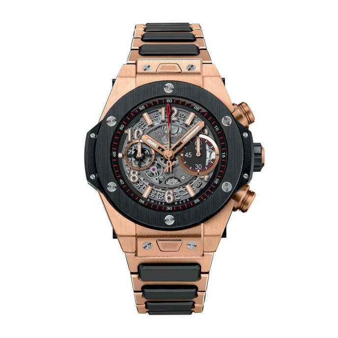 Hublot Big Bang Unico King Gold Céramique Bracelet 411.OM.1180.OM Watch Face View