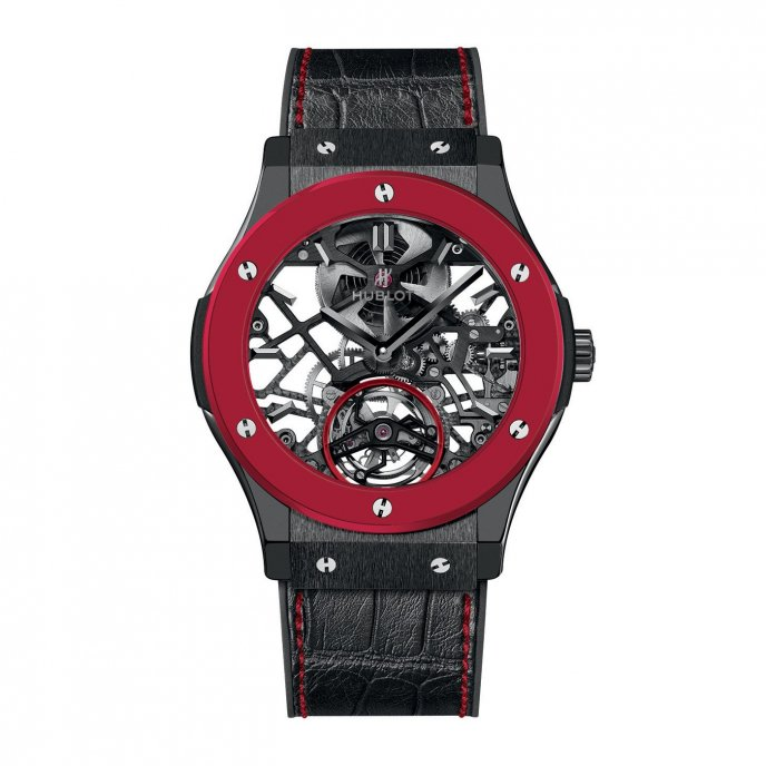 Hublot Classic Fusion Red'n'Black Skeleton Tourbillon for Only Watch 2013 505.CI.0140.LR.OWM13 - face view