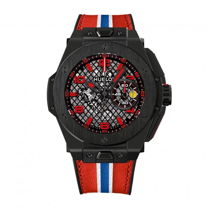 Hublot Big Bang Ferrari Black Ceramic 401.CX.1123.VR watch face view