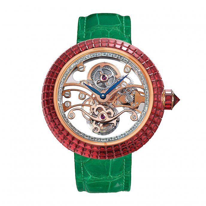 Jacob & Co Brilliant Skeleton Tourbillon 210.542.40.BR.RB.1BR - watch face view