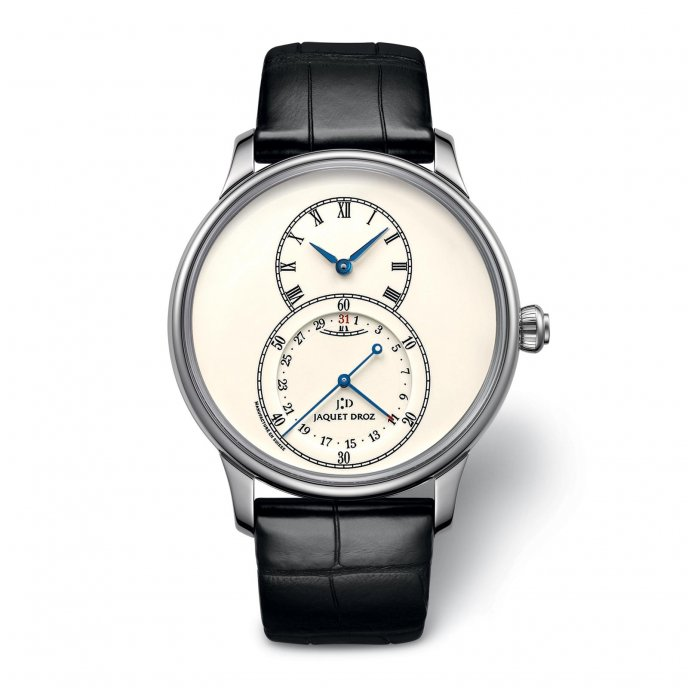 Jaquet Droz Grande Seconde Quantième Ivory Enamel J007034200 - watch face view