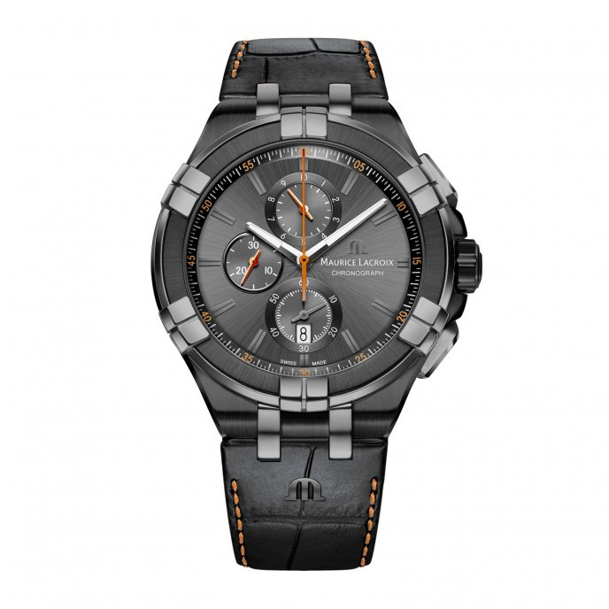 Aikon Chronograph Black & Orange 44 mm