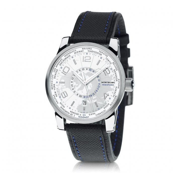 Montblanc - TimeWalker World-Time Hemispheres 108955 - face view