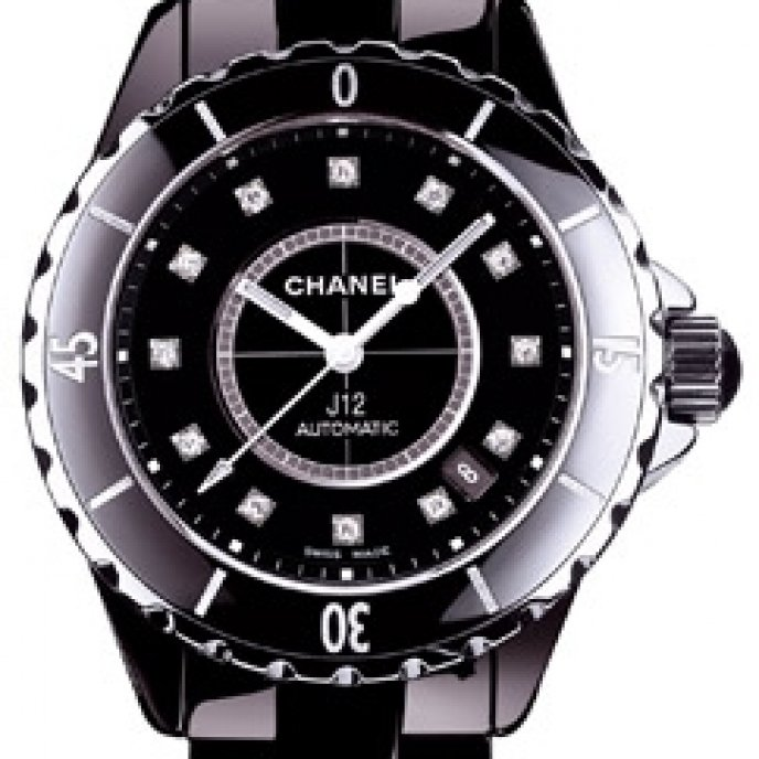Chanel - J12 Céramique noire, cadran 12 index diamants