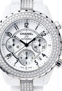 J12 Chronographe céramique blanche  sertie diamants