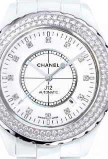 J12 Céramique blanche / Lunette acier sertie diamants, cadran 12 index diamants