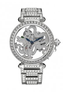 Skeleton Dragon Motif Brillant-Cut Diamonds