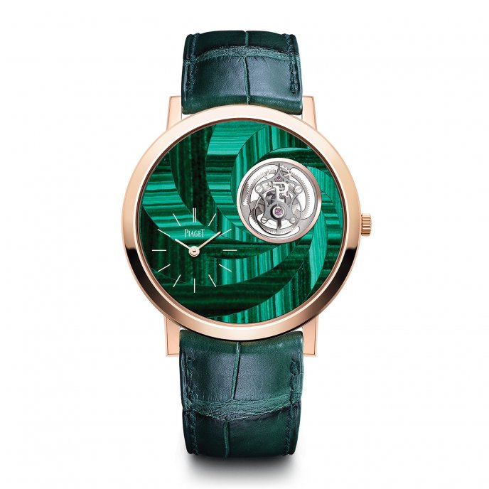 Altiplano malachite marquetry tourbillon