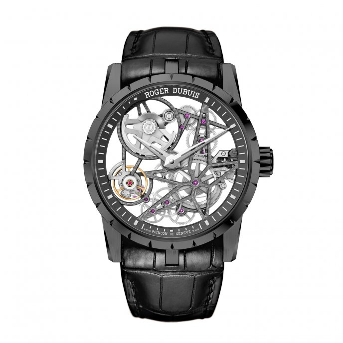 Roger Dubuis Excalibur Squelette Automatique Titane DLC noir watch face view
