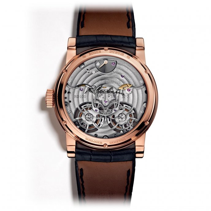 Roger Dubuis Hommage Double Tourbillon Volant avec mouvement en or rose guilloché main RDDBHO0563 - watch back view